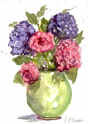 Water colour Hand painted CARD Hydrangeas & Roses - Free Postage Australia wide only
