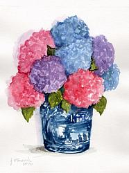 Water colour Original - Mixed Hydrangeas  - Free Postage Australia wide only