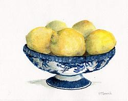 "Water colour Original ""Lemons in Blue & White"""