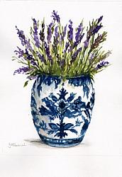 "Water colour Original ""Lavender in Blue & White Ginger Jar"""
