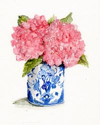 Water colour Original - Two Pink Hydrangeas