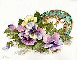 Water colour Original - Pansies