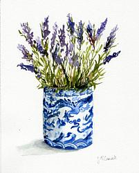 Water colour Original  - Lavender in Blue and White Vase