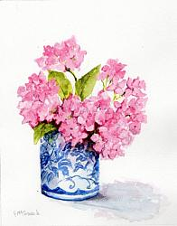 Water colour Original  - Pink Hydrangea
