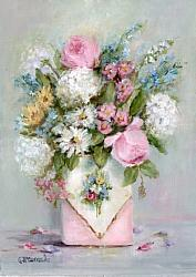 Original Painting - Flowers in a Vintage Pink Tin - Postage is included in the price Australia wide