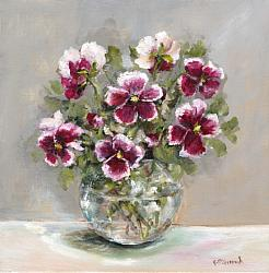 Original Painting on Canvas - Winter Pansies - Postage included Aus wide