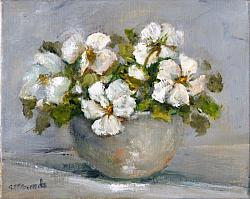 Original Painting on Canvas - White Winter Pansies - Postage included Aus wide