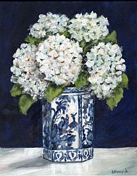Original Painting on Canvas - Hydrangeas on Blue - postage included Australia wide