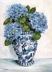 Original Painting on Canvas - Blue Hydrangeas on White - postage included Australia wide