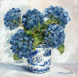 Original Painting on Canvas - Blue Hydrangeas in B & W - 20 x 20cm series