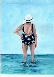 Original Painting on Canvas Paper - At the beach 1