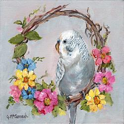 ORIGINAL Painting on Canvas - Budgie perched on a Wreath - 20 x 20cm series