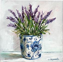 ORIGINAL Painting on Canvas - First of the Lavenders - 20 x 20cm series