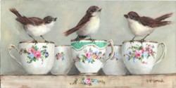 "Original Painting on Panel - ""Birds on China Tea Cups"" - postage included Aus. wide"