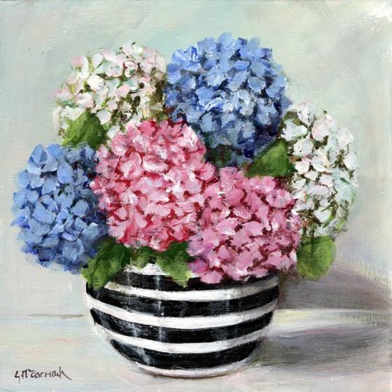 Black and white bowl with hydrangeas Original painting