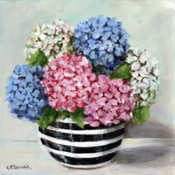 Original Painting on Canvas - Black & White Bowl with Hydrangeas - 25 x 25cm series