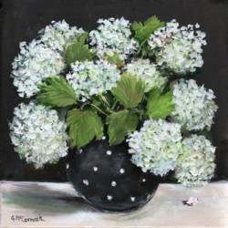 Original Painting on Canvas - Snowballs in Black Vase - 25 x 25cm