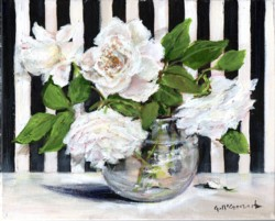 Original Painting on Canvas - White Roses from my Garden - 20 x 25cm
