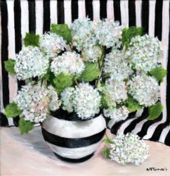 Original Painting on Canvas - Whites On Black & White Stripes