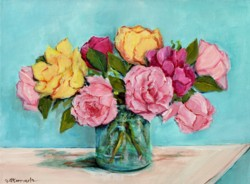 Original Painting on Canvas - Vibrant Roses - 40 x 30cm