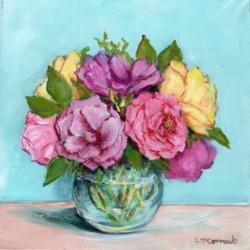 Original Painting on Canvas - 2019 Roses - 25 x 25cm