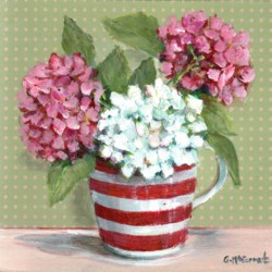 Original Painting on Panel - The Red & White Jug - 20 x 20cm