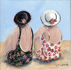 Original Painting on Canvas - Beach Friends - 20 x 20cm series