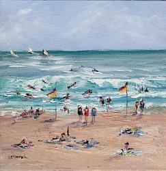 Original Painting on Canvas - Friends at the Beach - Free Postage Australia wide