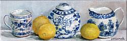 Original Painting on Canvas - Blue & White Shelfie - postage included Australia wide