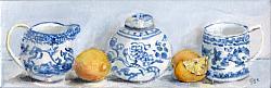 Original Painting on Canvas - Lemons with B & W Shelfie - postage included Australia wide