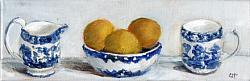 Original Painting on Canvas - Lemons in Blue & W bowl Shelfie - postage included Australia wide