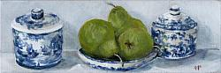 Original Painting on Canvas - Pears with Blue and White Shelfie - postage included Australia wide