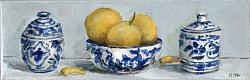 Original Painting on Canvas - Pots, Bowl and Lemons Shelfie - postage included Australia wide