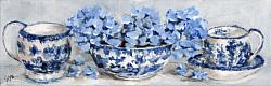 Original Painting on Canvas - Blue & White with Hydrangeas Shelfie - postage included Australia wide
