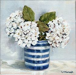 Original Painting on Canvas - White Hydrangea trio - 20 x 20cm series