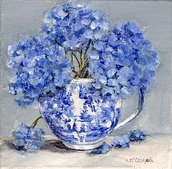 Original Painting on Canvas - B & W Cup with Hydrangea - 20 x 20cm series SOLD OUT