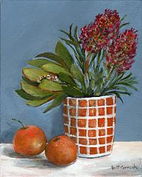 Original Painting on Canvas - Two Mandarins - 20 x 25cm series