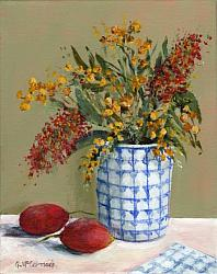 Original Painting on Canvas - Two Bush Tomatoes with Native Flora - 20 x 25cm series