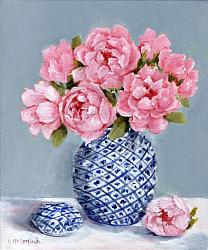 ORIGINAL Painting on Canvas - Pink Peonies - Postage included Aus wide