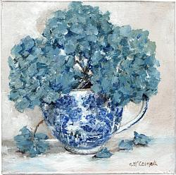 Original Painting on Canvas - B & W Cup with Hydrangea - 20 x 20cm series