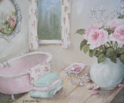 Original Whimsical  Painting on Canvas - Bathroom Roses - Postage is included Australia Wide