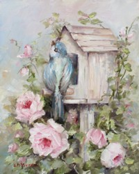 Bird House & Roses - Available as prints and gift cards