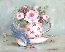 Bird in Tea Cup (A) - Available as prints and gift cards