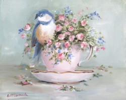 Bird in Tea Cup (B) - Postage is included Australia only