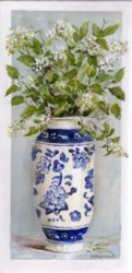 Original Painting on Panel - Blossoms in Blue & White Vase - Postage is included Australia Wide