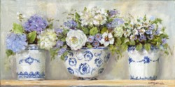 Ready to hang Print - Mixture of Flowers in Blue & White - FREE POSTAGE Australia wide
