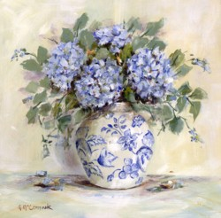 Original Painting on Panel - Blue Hydrangeas and China - Postage is included Australia Wide