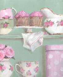 Original Whimsical Painting - Cup Cakes and China - Postage is included Australia wide