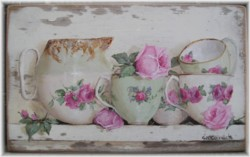 Original Painting on Chippy White Panel - Assorted China - Postage is included in the Price Australia wide