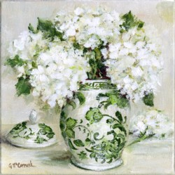 Original Painting on Canvas - Green & White with Hydrangeas (A) - 20 x 20cm series